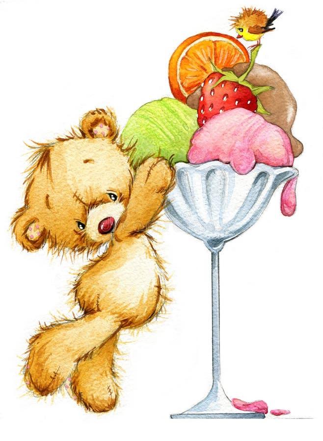 Ejemplo lindo de la acuarela del oso de peluche stock de ilustración