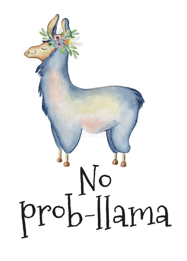 Ejemplo lindo de la acuarela del personaje de dibujos animados de la llama, animal de la alpaca, estilo dibujado mano Ninguna lla stock de ilustración