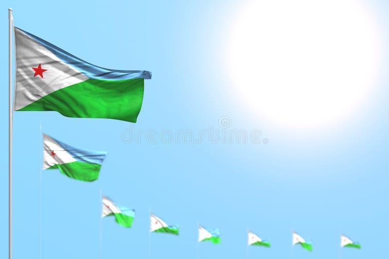 Ejemplo lindo de la bandera 3d del Día del Trabajo - muchas banderas de Djibouti colocaron diagonal con el foco selectivo y el es stock de ilustración