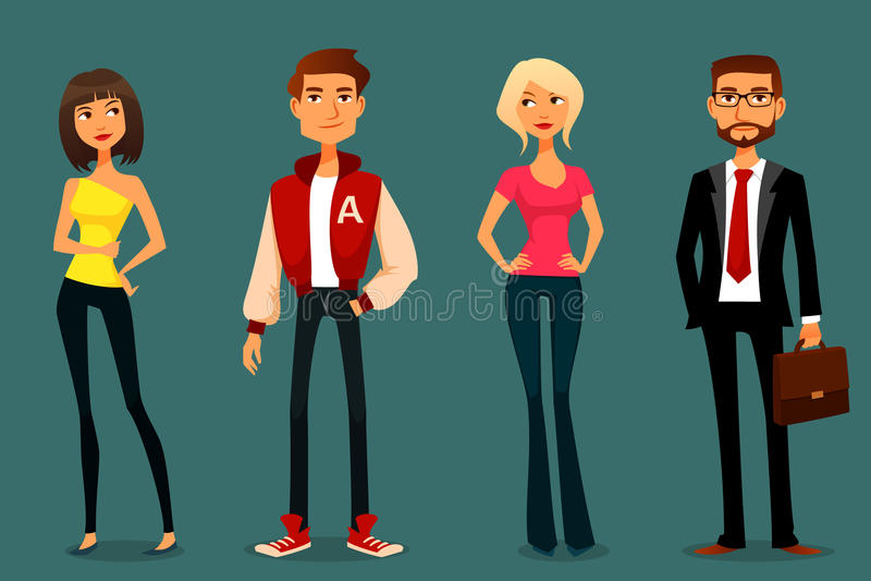 Ejemplo lindo de la historieta de la gente ilustración del vector
