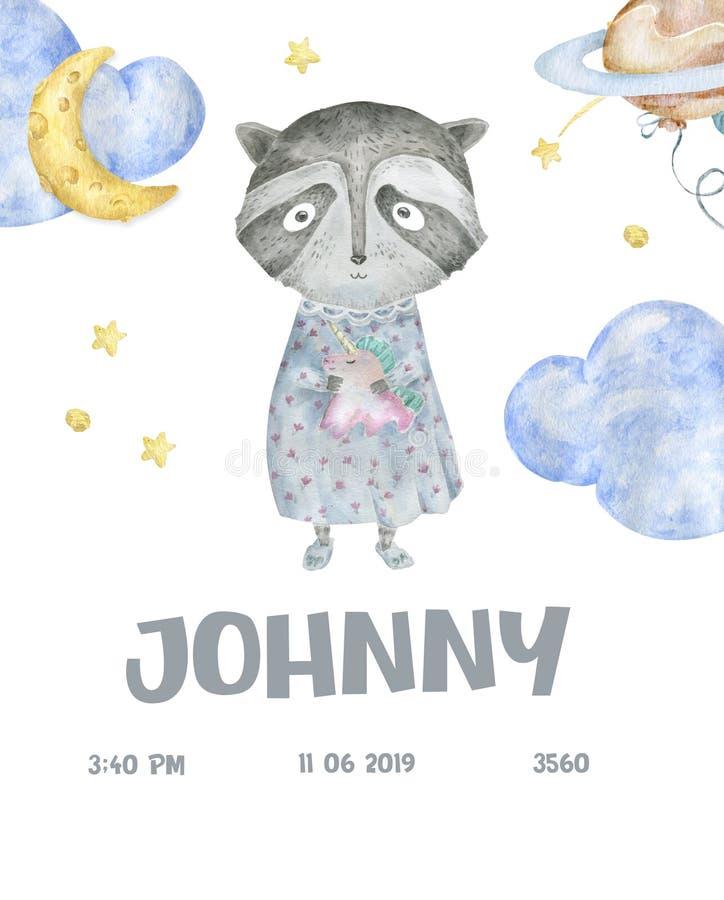 Ejemplo lindo de la historieta de los animales del arbolado para la plantilla de la tarjeta de la fiesta de bienvenida al bebé El ilustración del vector