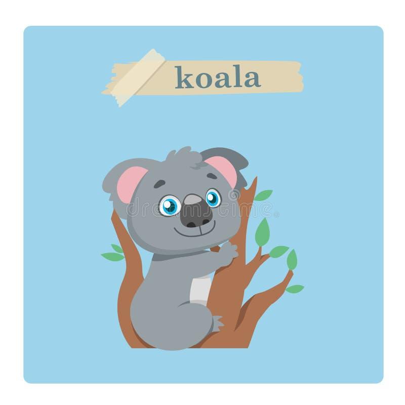 Ejemplo lindo de la koala en fondo azul stock de ilustración