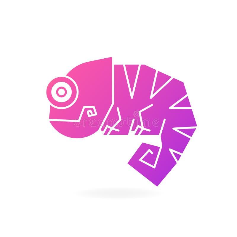 Ejemplo lindo de Logo On White Background Vector del camaleón stock de ilustración