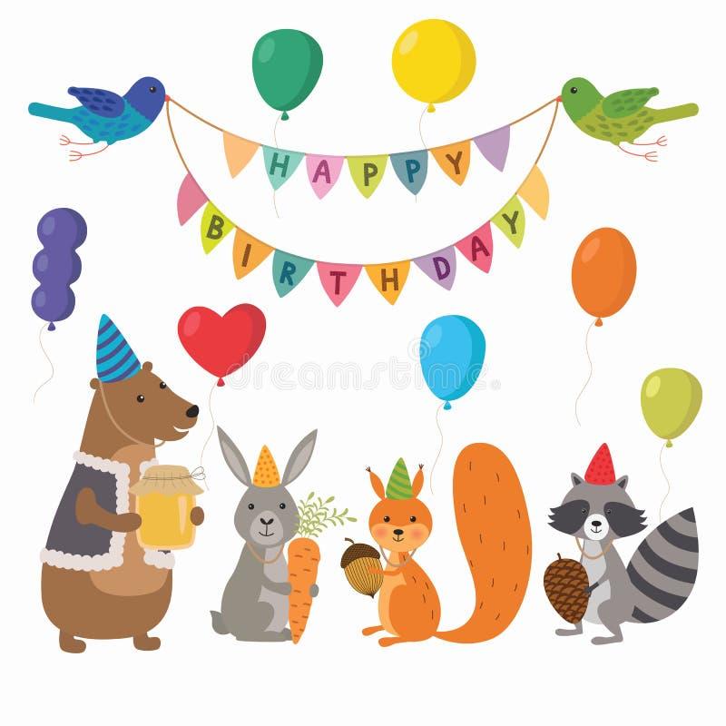 Ejemplo lindo de los animales del bosque de la historieta para la plantilla de la tarjeta de cumpleaños stock de ilustración