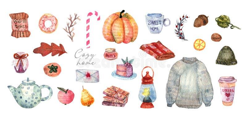 Ejemplo lindo de los elementos del hygge del otoño y del invierno stock de ilustración