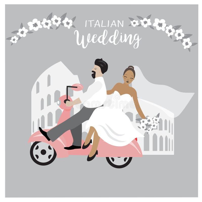 Ejemplo lindo de los pares de la boda La novia y el novio aislaron sentarse en un vespa Ejemplo de la historieta de los vestidos  ilustración del vector