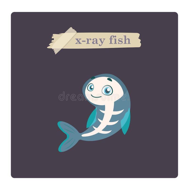 Ejemplo lindo de los pescados de la radiograf?a en fondo p?rpura stock de ilustración