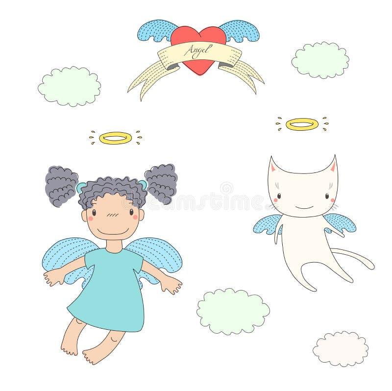 Ejemplo lindo del ángel y del gato stock de ilustración