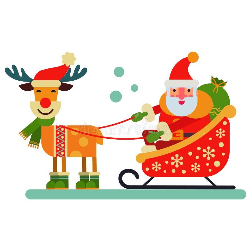 Ejemplo lindo del Año Nuevo del vector del carácter de Santa Claus del reno de la Navidad del animal de los ciervos para el trine stock de ilustración
