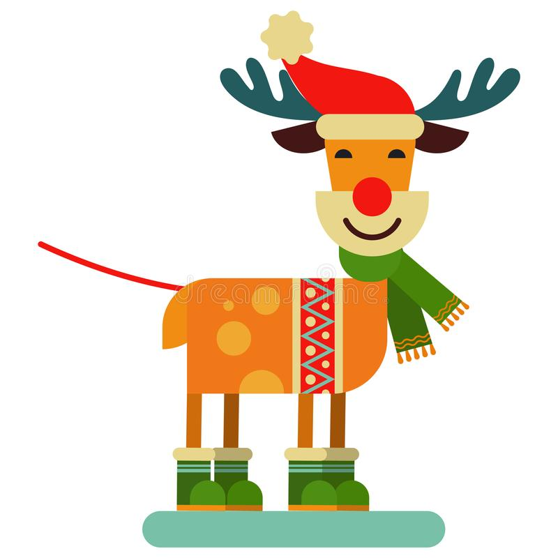 Ejemplo lindo del Año Nuevo del vector del carácter de Santa Claus del reno de la Navidad del animal de los ciervos para el trine libre illustration