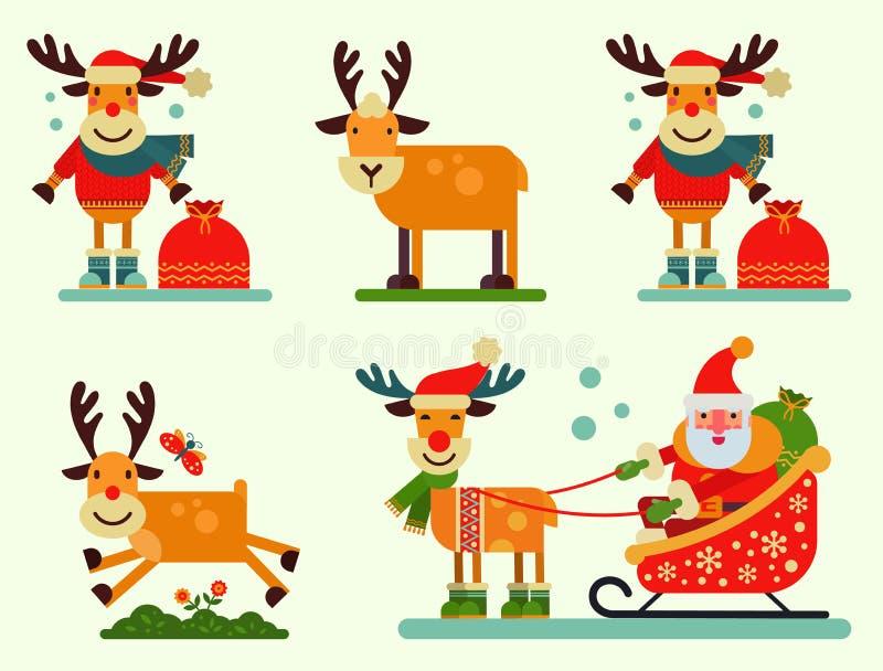 Ejemplo lindo del Año Nuevo del vector del carácter de Santa Claus del reno de la Navidad del animal de los ciervos para el trine ilustración del vector