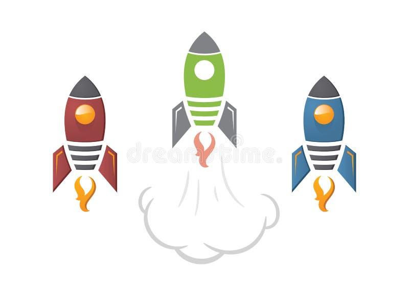 Ejemplo lindo del cohete de la historieta stock de ilustración