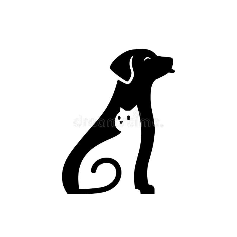 ejemplo lindo del icono del vector del logotipo del cuidado del animal doméstico del gato del perro ilustración del vector