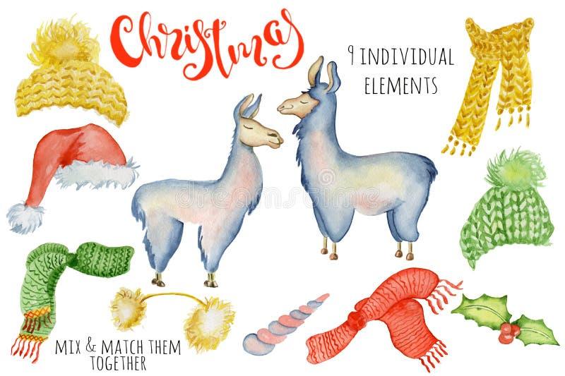Ejemplo lindo del invierno del creador de la acuarela del lama de la Navidad con alpaca de las decoraciones ilustración del vector