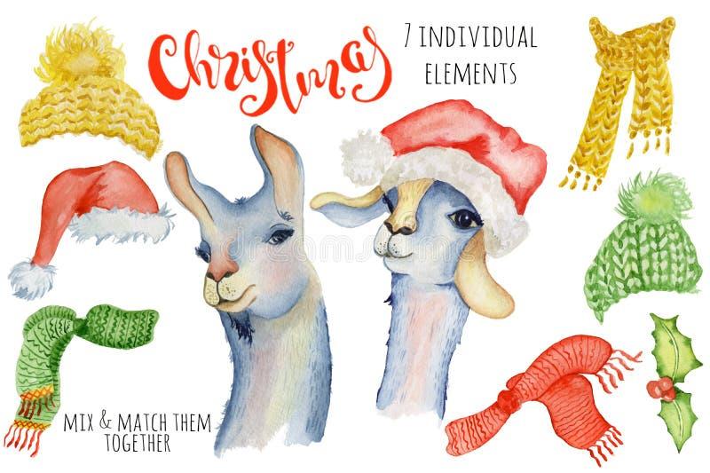 Ejemplo lindo del invierno del creador de la acuarela del lama de la Navidad con alpaca de las decoraciones libre illustration