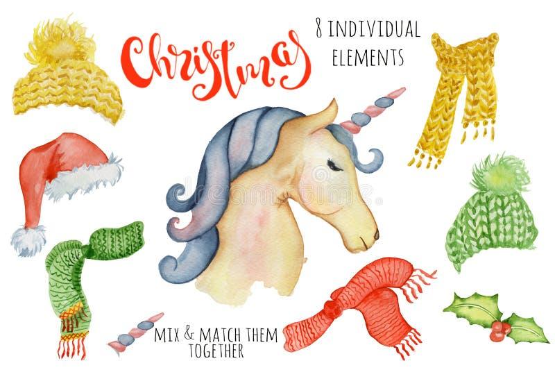 Ejemplo lindo del invierno del creador de la acuarela de los unicornios de la Navidad con las decoraciones ilustración del vector