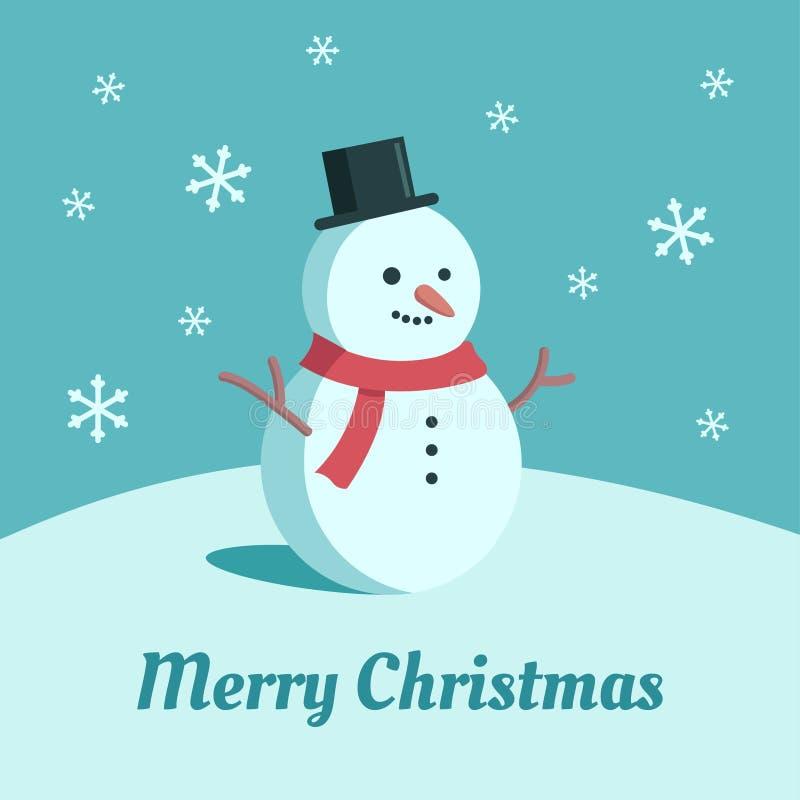 Ejemplo lindo del muñeco de nieve Tarjeta de Navidad plana del estilo de la historieta Fondo del azul de la nieve que cae stock de ilustración