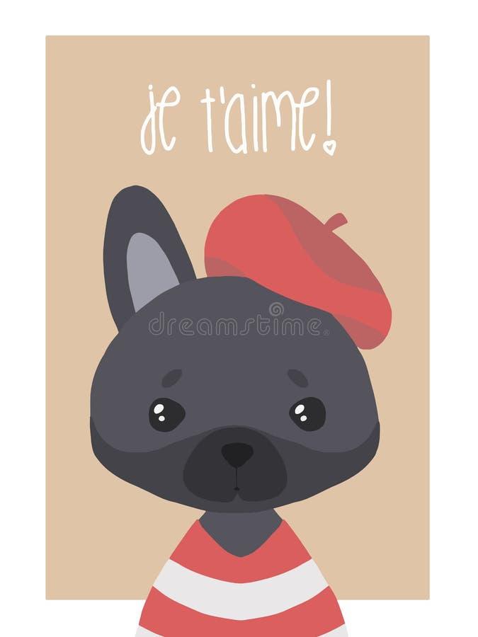 Ejemplo lindo del perro del dogo francés del negro del vector para los niños stock de ilustración