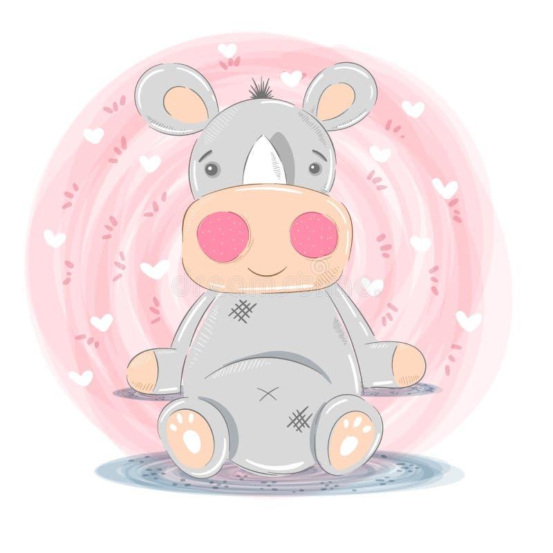 Ejemplo lindo del rinoceronte - personajes de dibujos animados libre illustration