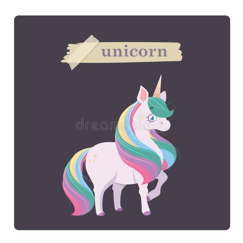 Ejemplo lindo del unicornio en fondo p?rpura libre illustration