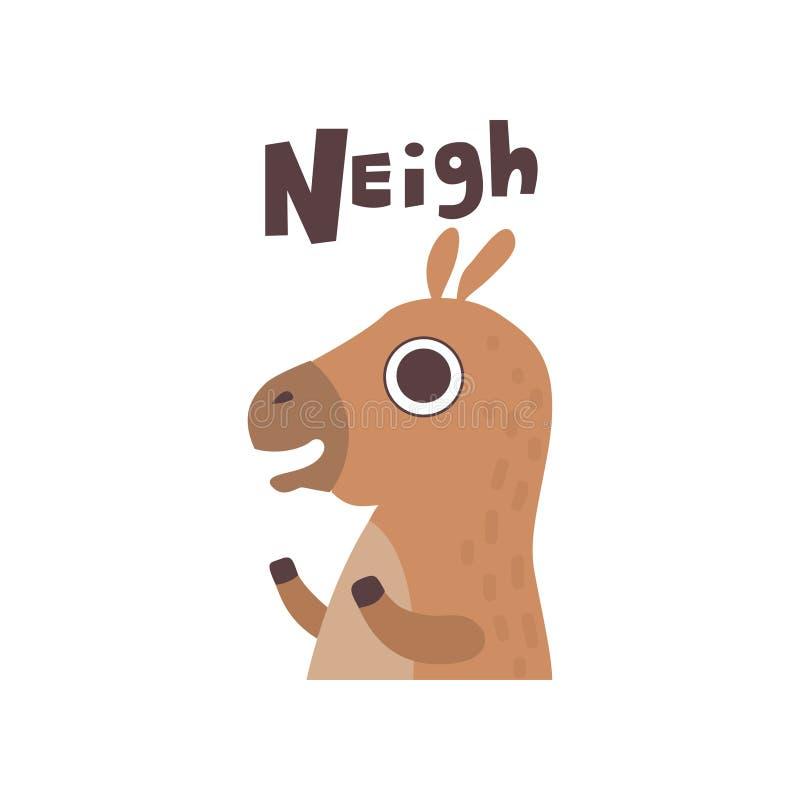 Ejemplo lindo del vector del animal del campo del caballo de la historieta que relincha libre illustration