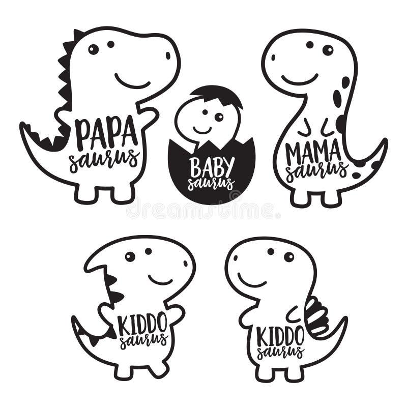 Ejemplo lindo del vector del carácter de la familia del dinosaurio stock de ilustración