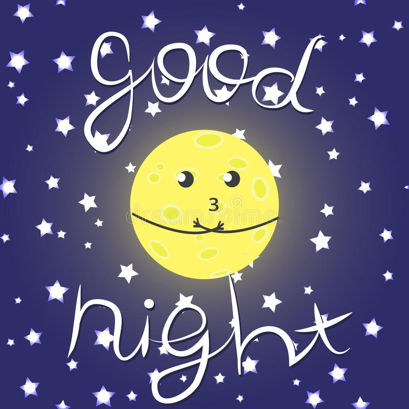 Ejemplo lindo del vector con la luna, las estrellas y la inscripción divertidas 'buenas noches ' libre illustration
