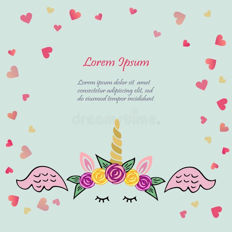 Ejemplo lindo del vector con la tiara y el cuerno del unicornio, rosados ilustración del vector