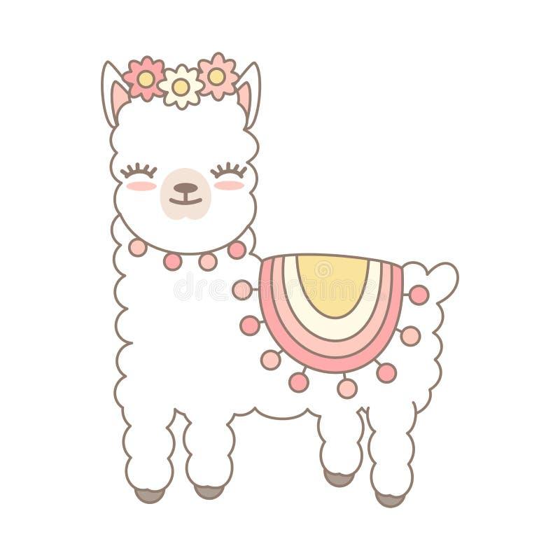 Ejemplo lindo del vector de la alpaca del lama de la historieta aislado en el fondo blanco stock de ilustración