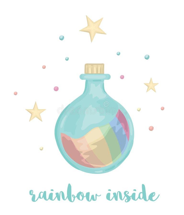 Ejemplo lindo del vector de la botella del estilo de la acuarela con el arco iris dentro ilustración del vector