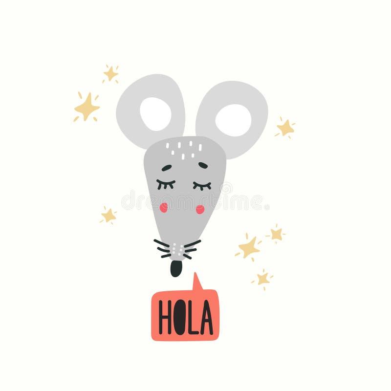 Ejemplo lindo del vector de la cabeza del ratón Elemento del diseño, clipart libre illustration