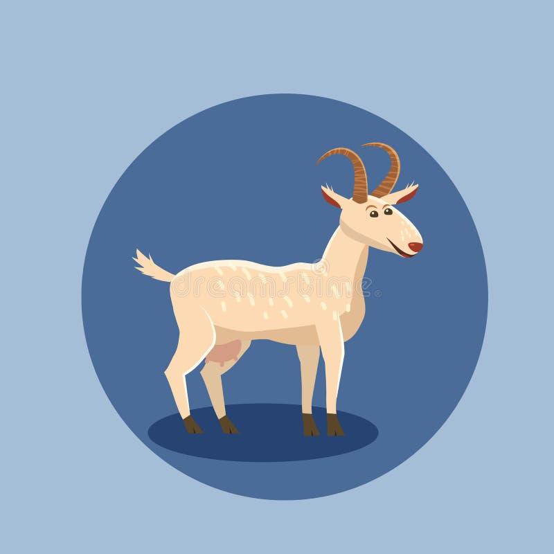 Ejemplo lindo del vector de la cabra aislado Personaje de dibujos animados de la cabra del animal del campo stock de ilustración