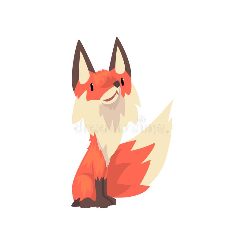 Ejemplo lindo del vector de la historieta del carácter del Fox rojo Cub stock de ilustración