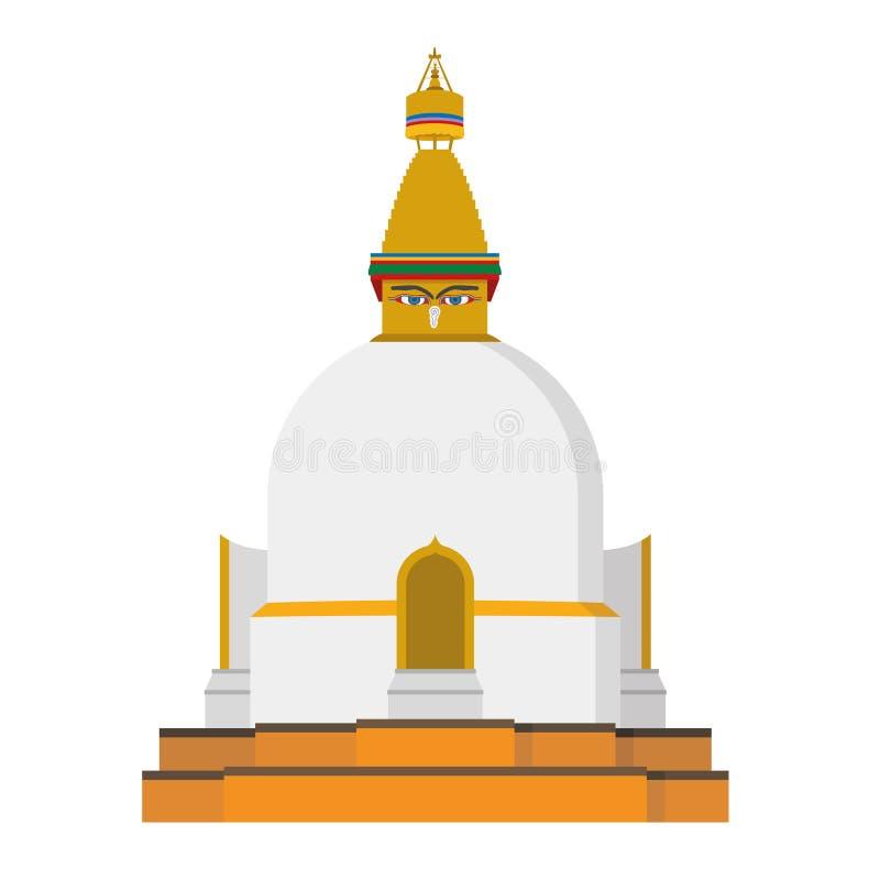 Ejemplo lindo del vector de la historieta de un Stupa budista ilustración del vector