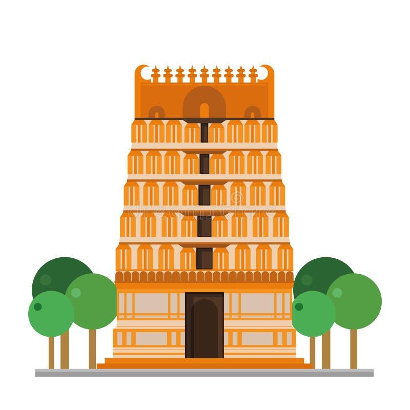 Ejemplo lindo del vector de la historieta de un templo de Hinduist libre illustration