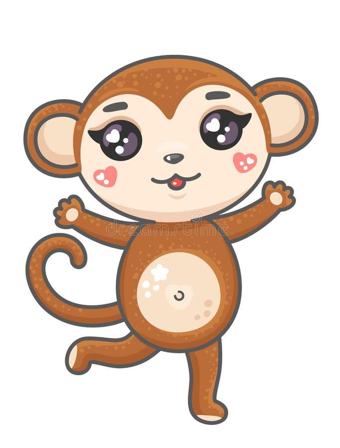 Ejemplo lindo del vector de la historieta del mono Mono animal sonriente del bebé en estilo del kawaii aislado en el fondo blanco ilustración del vector