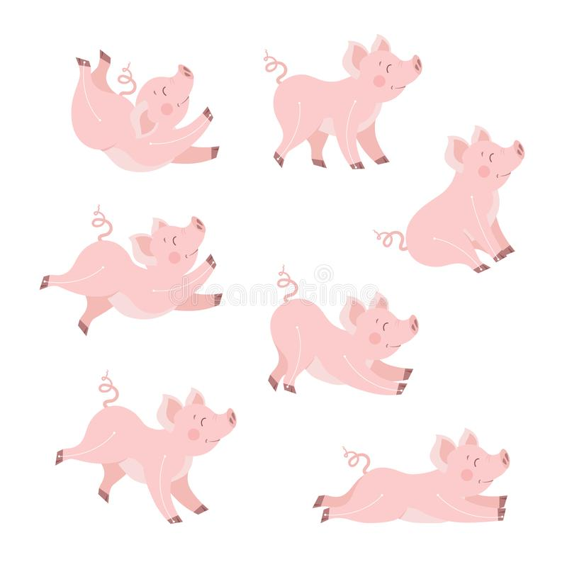 Ejemplo lindo del vector de la historieta del sistema de la animación del cerdo Guarro feliz aislado en blanco libre illustration