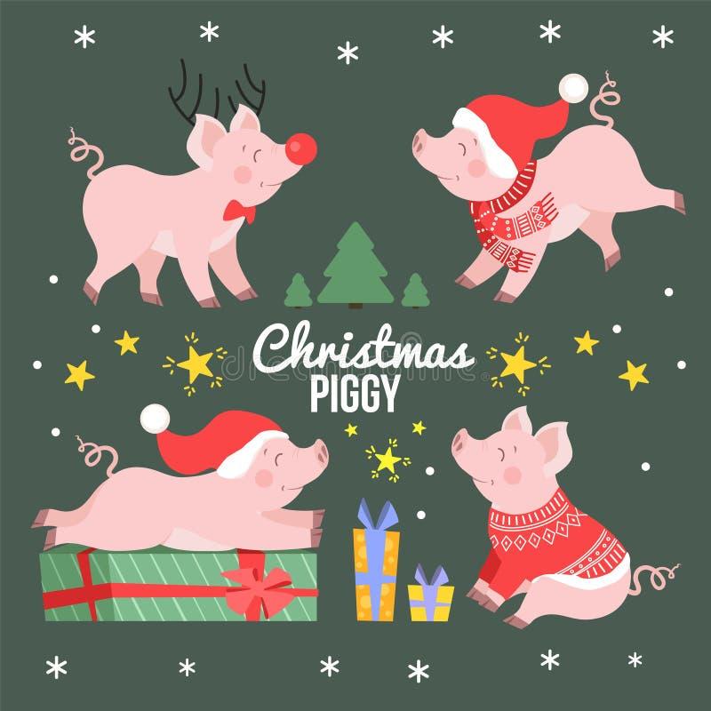 Ejemplo lindo del vector de la historieta del sistema del cerdo de la Navidad Guarro feliz del día de fiesta aislado ilustración del vector