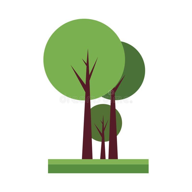 Ejemplo lindo del vector de la historieta de un grupo del árbol libre illustration