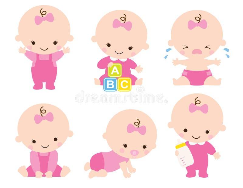 Ejemplo lindo del vector de la niña con los modelos del niño fijados libre illustration
