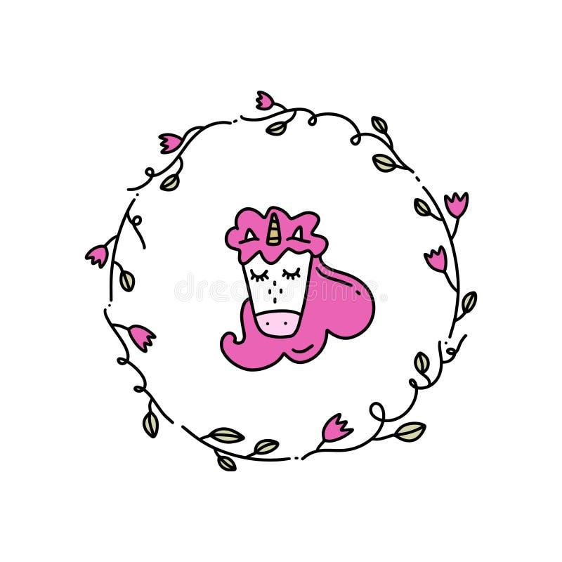 Ejemplo lindo del vector de poca cabeza del unicornio y bastidor floral Aislado en el fondo blanco stock de ilustración