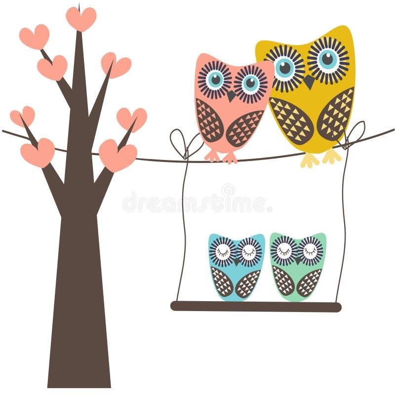 Ejemplo lindo del vector de una familia del búho que se sienta en el árbol stock de ilustración
