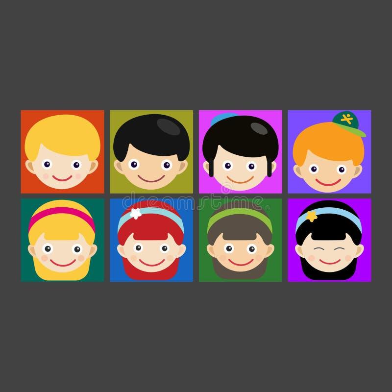 Ejemplo lindo del vector del niño del personaje de dibujos animados del adolescente del muchacho de la diversión del retrato de l ilustración del vector