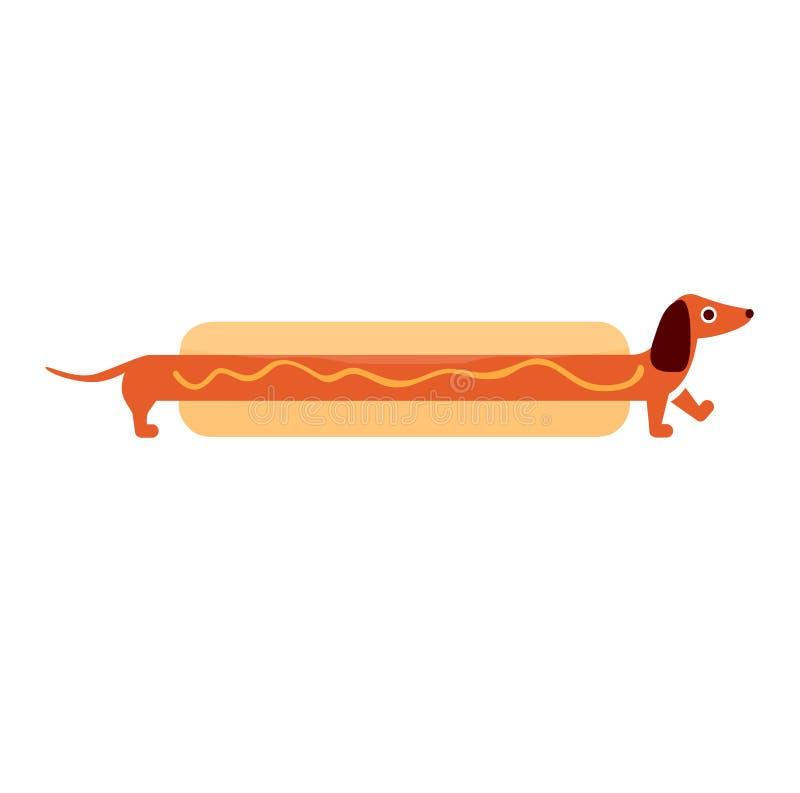 Ejemplo lindo del vector del perro basset del PERRITO CALIENTE foto de archivo libre de regalías