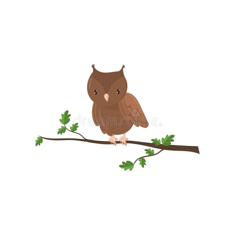Ejemplo lindo del vector del pájaro de la historieta del arbolado del búho stock de ilustración