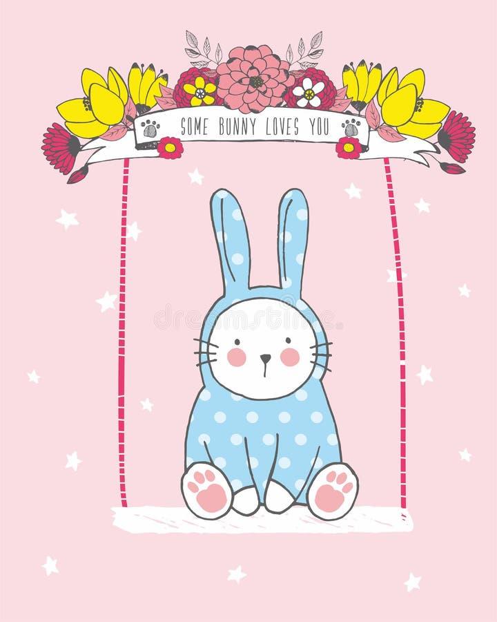 Ejemplo lindo del vector del paseo blanco exhausto del bebé del conejo de la mano en un oscilación con la guirnalda de la flor ilustración del vector