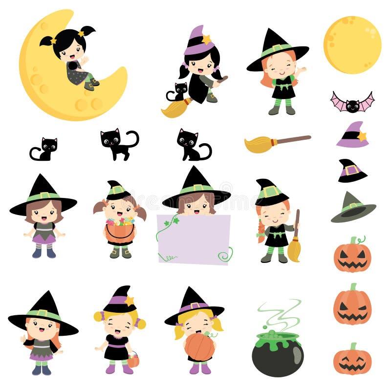 Ejemplo lindo del vector del sistema de elementos del diseño de Halloween de las brujas aislado en blanco ilustración del vector