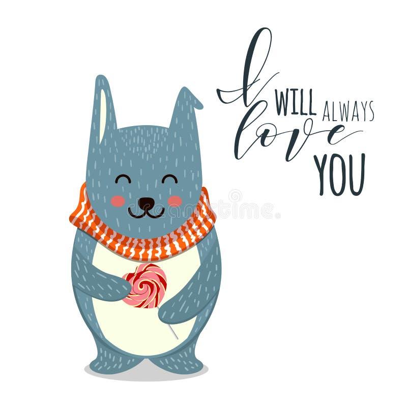 Ejemplo lindo del vector Toy Teddy Bear con el corazón Puede ser utilizado para las tarjetas del día de San Valentín postal, post libre illustration