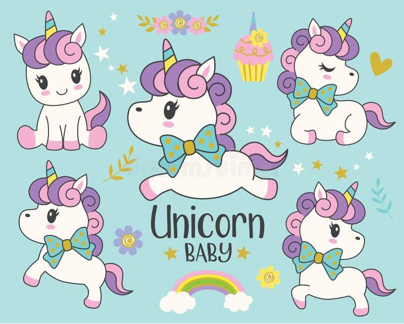 Ejemplo lindo del vector del unicornio del bebé libre illustration