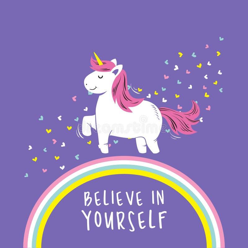 Ejemplo lindo del vector del unicornio con el arco iris, explosión del amor, y fondo púrpura ilustración del vector